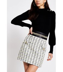 river island womens cream boucle check chain waist mini skirt