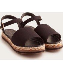 sandalias con correa en tobillo negro 36