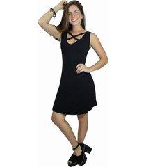 vestido racy modas social godê decote em x preto