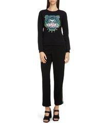 women's kenzo classic tiger embroidered slim sweatshirt, size small - black