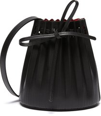 mini pleated leather drawstring bucket bag