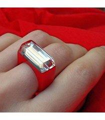 czerwony pierścionek z żywicy z lustrem