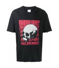 alchemist camiseta com estampa de logo e caveira - preto