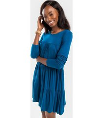 bailey tiered shift mini dress - teal