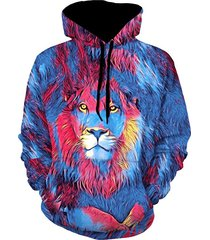 lion paint graphic front pocket casual hoodie