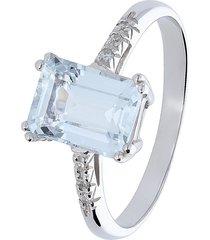 anello in oro bianco, acquamarina 1,28 ct e diamanti 0,04 ct per donna