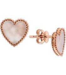 effy mother-of-pearl heart stud earrings in 14k rose gold