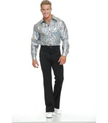 buyseasons men's silver glitter disco shirt