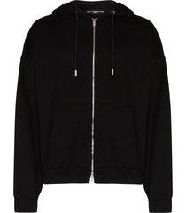 mastermind japan sequin-logo zip-up hoodie - black