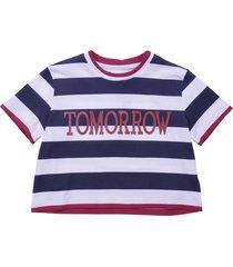 alberta ferretti blue and white striped cotton jersey t-shirt