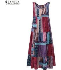 zanzea moda una línea de vestidos del tanque de playa del verano del partido de midi-becerro camisa de vestir de algodón de las mujeres de lino floral retro imprimir vestido de tirantes roja -rojo