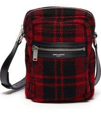 'brad pouch' tartan mini messenger bag