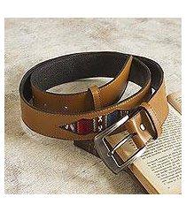 wool-accented leather belt, 'cusco camel' (peru)