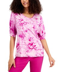 jm collection bubble-sleeve printed top, created for macy's