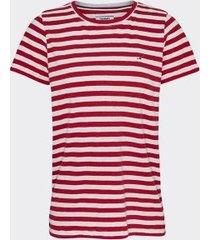 tommy hilfiger women's stripe t-shirt deep crimson / white - xl
