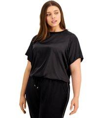 alfani plus size modern lounge blouson-sleeve top, created for macy's