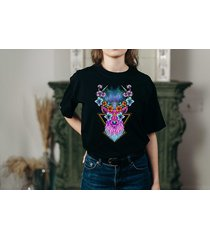 koszulka czarna damska oversize jeleń