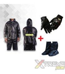 impermeable para moto + zapatones +guantes moto pro biker