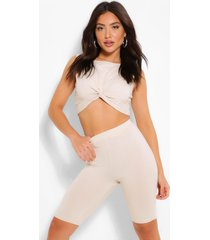 twist front crop top & cycle shorts, stone