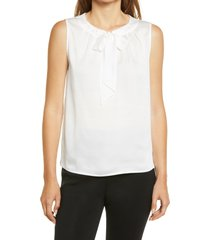 ming wang tie jewel neck sleeveless blouse, size large in white at nordstrom