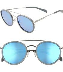 maui jim even keel 51mm polarizedplus2(r) sunglasses in silver/blue hawaii at nordstrom
