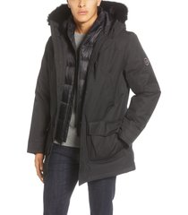 men's ugg butte 3-in-1 down parka with genuine shearling trim, size x-large - black