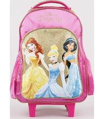 mochila escolar infantil princesas com rodinhas pink