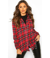 woven flannel shirt, red