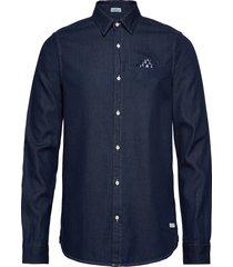 long sleeve indigo shirt with pochet pocket overhemd casual blauw scotch & soda