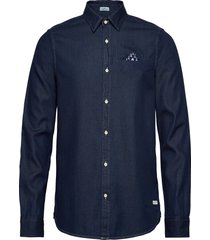 long sleeve indigo shirt with pochet pocket overhemd casual blauw scotch & soda