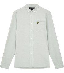 lyle and scott lw1302vtr lyle&scott regular fit light weight oxford shirt, w492 fern green/ white