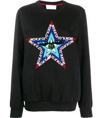 no ka' oi bead embroidered sweatshirt - black
