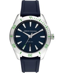 ax armani exchange men's enzo blue silicone strap watch 46mm