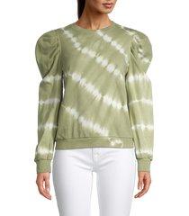 nicole miller women's tie-dyed cotton balloon-sleeve sweater - olive - size xs