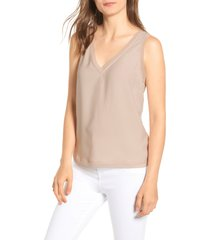 women's halogen raw edge tank, size xx-small - brown