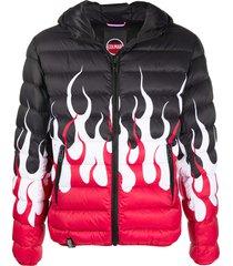 colmar flame print padded jacket - black