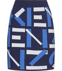 kenzo logo blend-cotton knit skirt