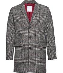 checked coat wollen jas lange jas grijs lindbergh