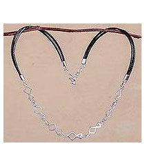sterling silver chain and leather necklace, 'minnows' (peru)