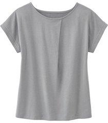 shirt met ronde hals en wijdteplooi van bio-katoen, zilvergrijs 38