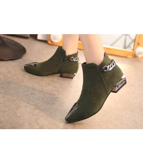 pb156 elegant pointy booties w plate and thick chain,  size 5-8.5, deep green