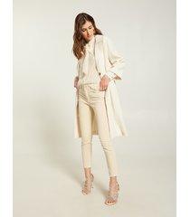 motivi giacca lunga in cotone effetto crinkle donna bianco