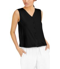 eileen fisher button-front v-neck top
