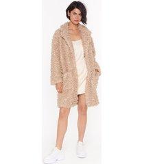 womens cost fur impression faux fur longline coat - caramel