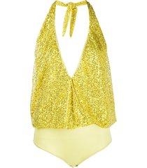 just cavalli embroidered halter-neck bodysuit - yellow