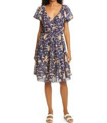 women's rebecca taylor talita botanical print metallic dress, size x-small - blue