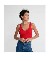 blusa regata em tricô canelada   marfinno   vermelho   gg