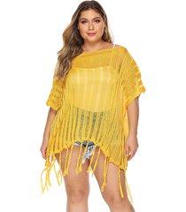 plus medias medias mangas semi transparentes cubren la ropa de playa vestido