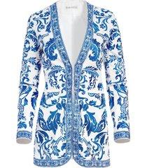 alice+olivia chriselle embroidered jacket - white