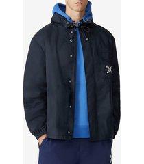 kenzo logo print hooded rain jacket
